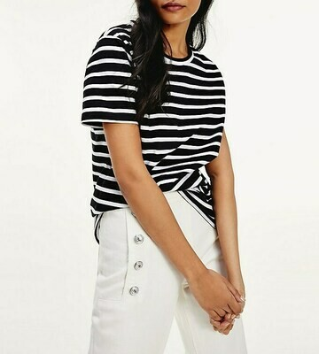 TOMMY TH COOL ESS RELAXED C-NK TEE SS BRETON STP - WHITE / BLACK