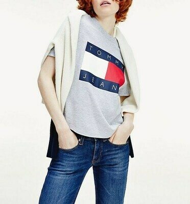 TOMMY TJW TOMMY FLAG TEE LT GREY HTR