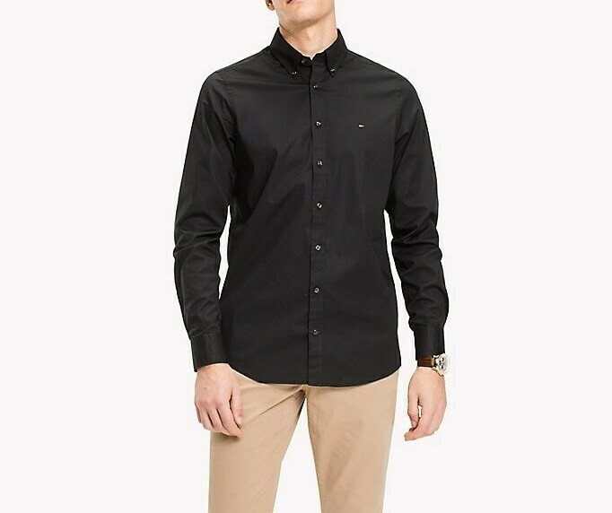TOMMY CORE STRETCH SLIM POPLIN SHIRT FLAG BLACK