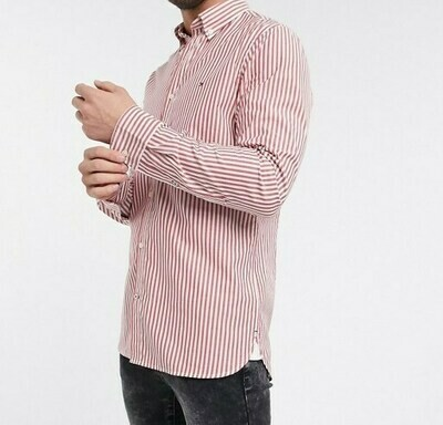 TOMMY SLIM NATURAL SOFT STRIPE SHIRT Primary Red / White