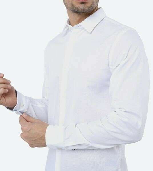 TOMMY SLIM FLEX SPACED OUT DOBBY SHIRT White