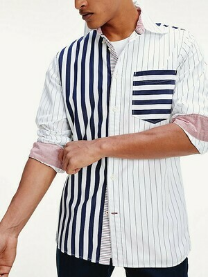 TOMMY MIX AND MATCH STRIPE SHIRT Carbon Navy / White