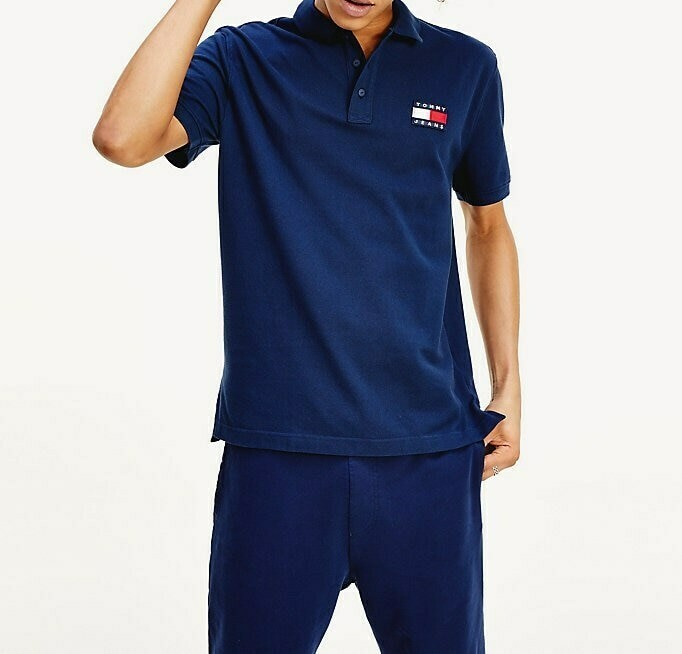 TOMMY TJM TOMMY BADGE POLO BLACK IRIS