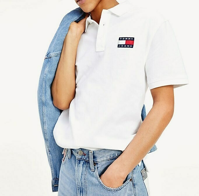 TOMMY TJM TOMMY BADGE POLO CLASSIC WHITE