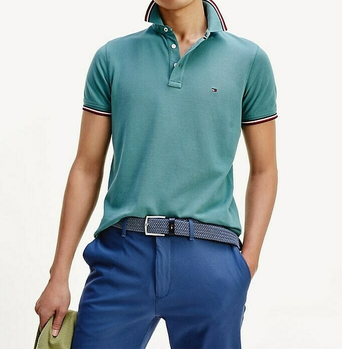 TOMMY TIPPED SLIM POLO JUNIPER GREEN