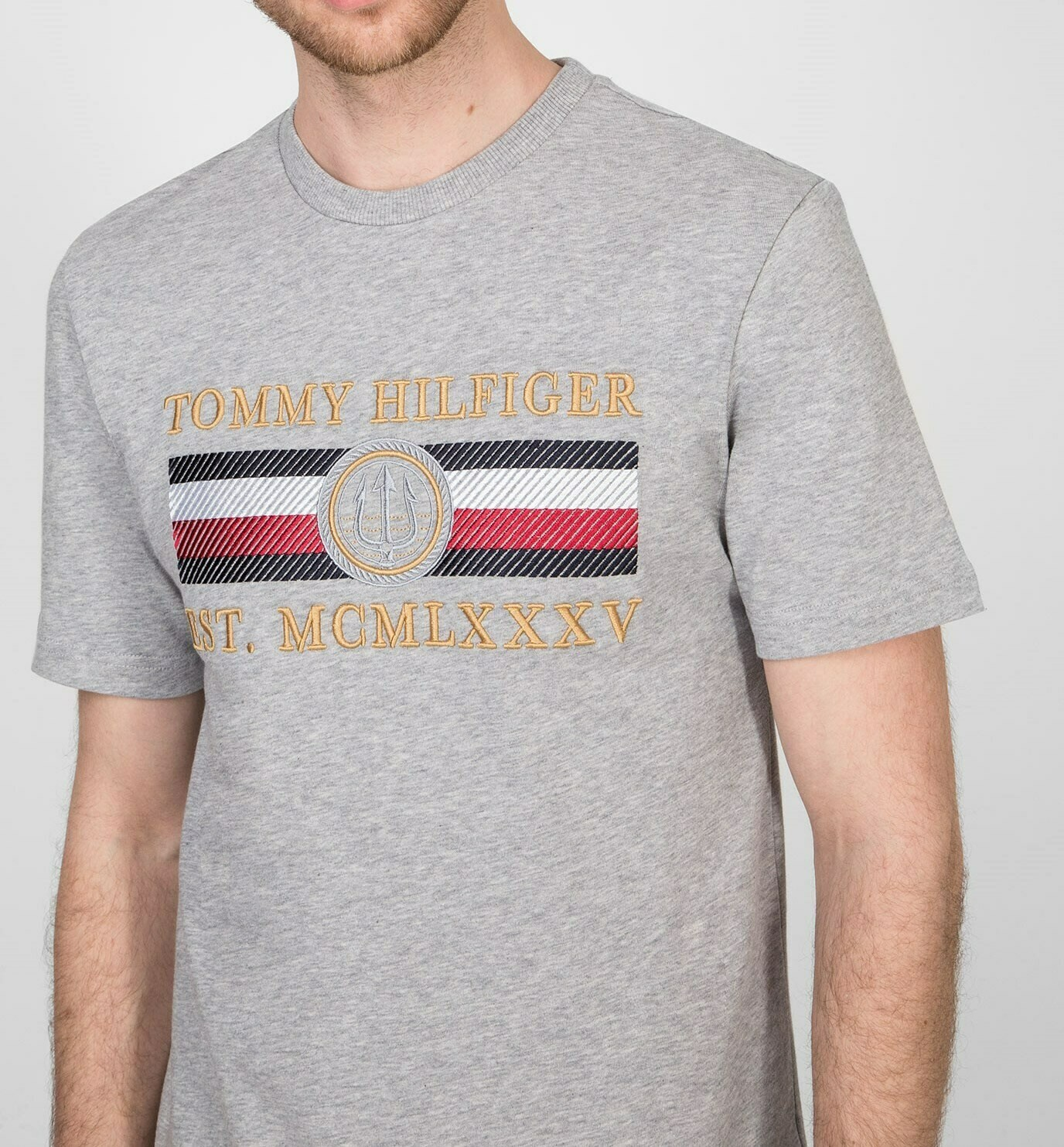 TOMMY ICON STRIPE RELAXED FIT TEE MEDIUM GREY HEATHER