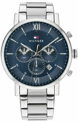 TH DUAL TIME STAINLESS STEEL BRACELET WATCH
