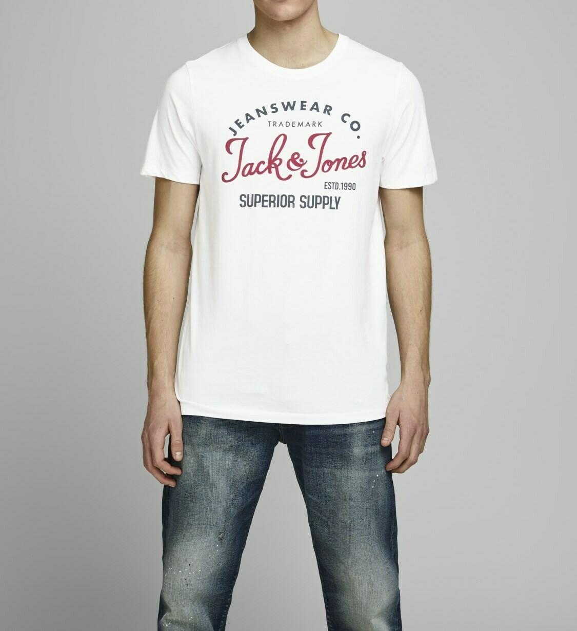 JACK&JONES JJELOGO TEE SS O-NECK 2 COL SS20 WHITE/CLOUD DANCER