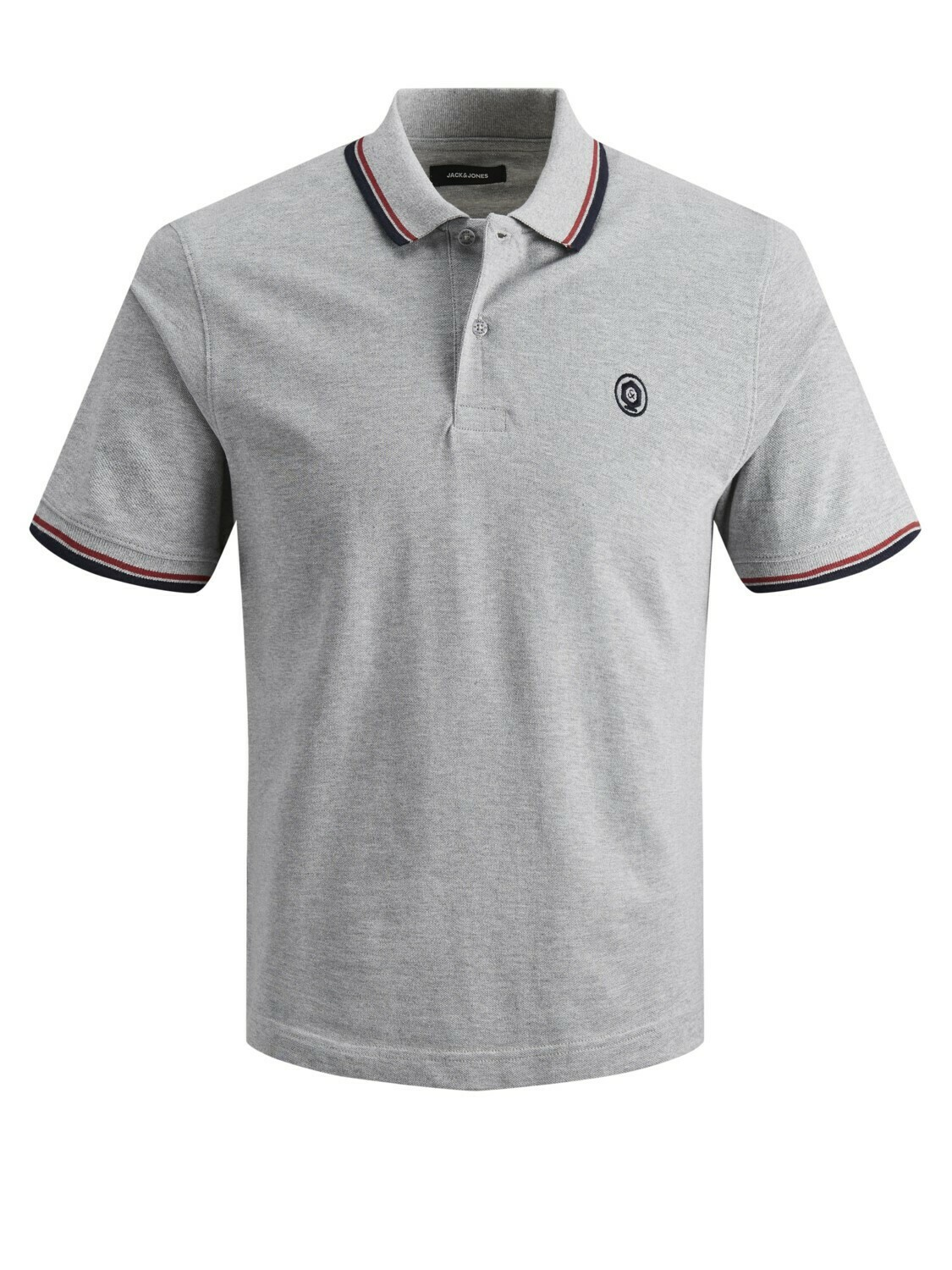 JACK&JONES JJENOAH POLO SS LIGHT GREY MELANGE/MELANGE