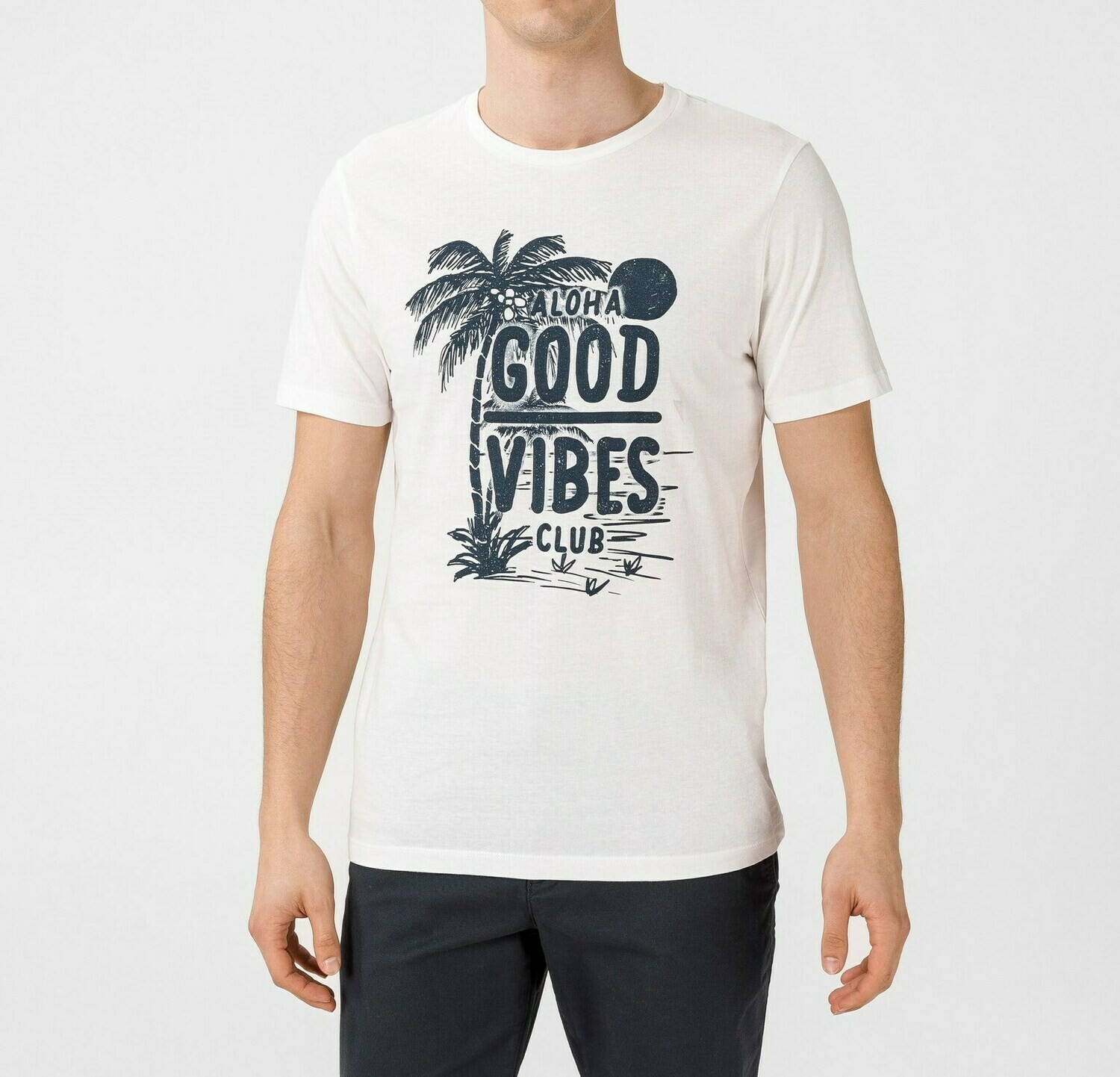 JACK&JONES JOROHU TEE SS CREW NECK WHITE/CLOUD DANCER