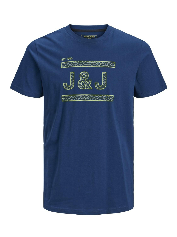 JACK&JONES JCOCOMPLETE TEE SS CREW NECK BLUE/NAVY PEONY