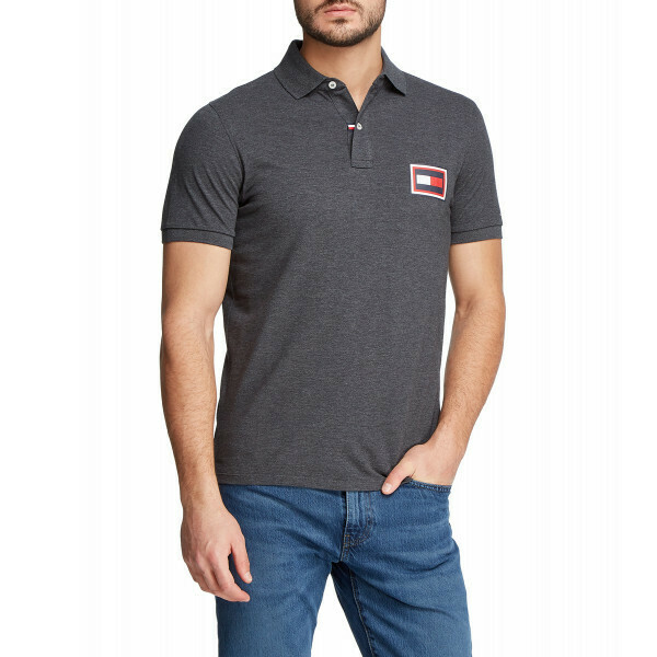 TOMMY HILFIGER MEN'S EMBOSSED AW SLIM POLO