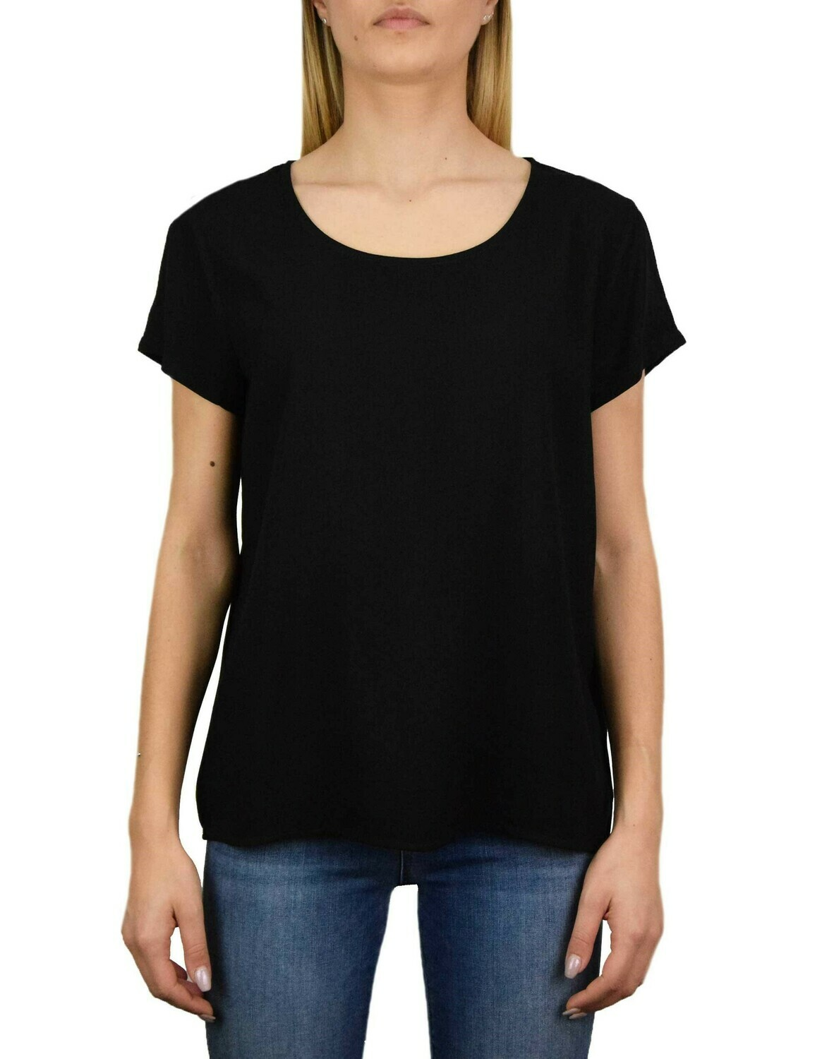 ONLFIRST ONE LIFE SS SOLID TOP WVN BLACK