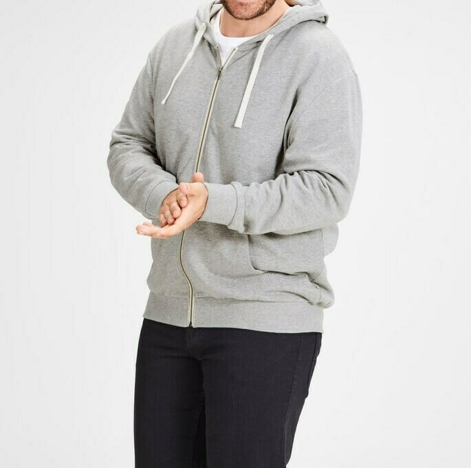 JACK&JONES JJEHOLMEN SWEAT ZIP HOOD PLUS SIZE LIGHT GREY MELANGE