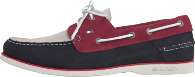 TOMMY CLASSIC SUEDE BOATSHOE DESERT SKY/PRIMARY RED/ICE