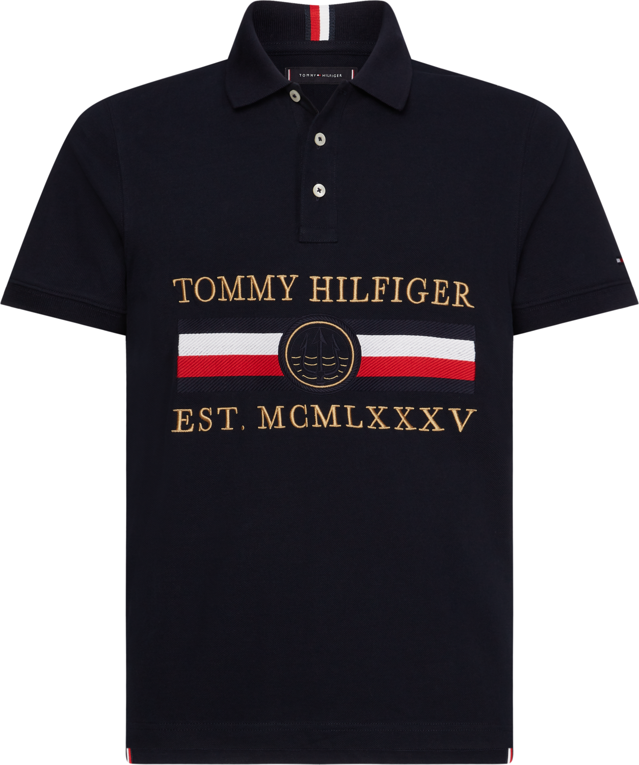 TOMMY ICON EMBROIDERY SLIM POLO DESERT SKY