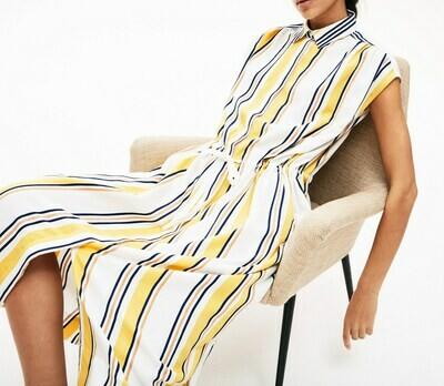 STRIPED LONG FLOWY SHIRT DRESS MULTI