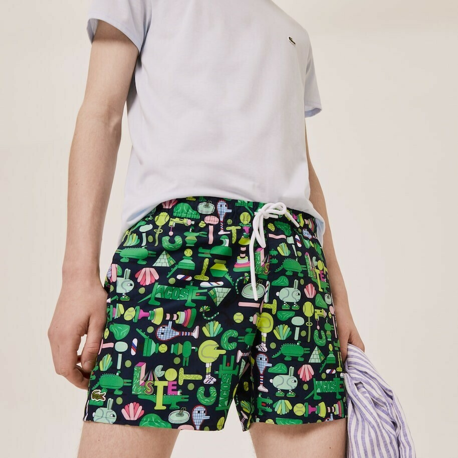 LACOSTE x JEREMYVILLE LIGHT PRINT SWIM MULTICOLOR SHORTS
