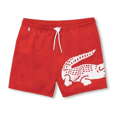 LACOSTE OVERSIZED CROCODILE PRINT LIGHT QUICK-DRY SWIM SHORTS RED