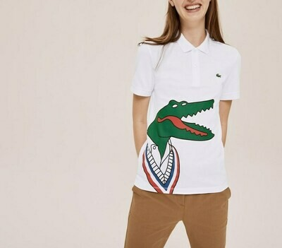 LACOSTE x JEAN-MICHEL TIXIER PRINT CLASSIC FIT POLO SHIRT WHITE/RED