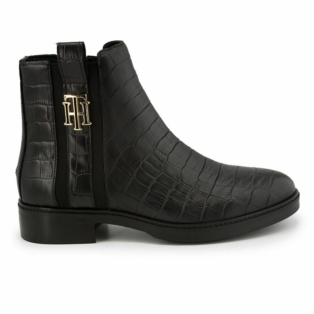 Tommy Hilfiger Croco-Print Leather Flat Boots