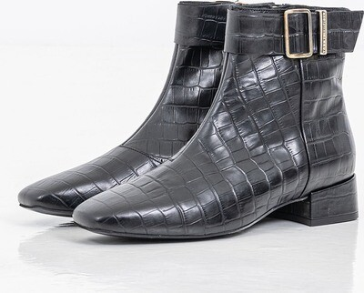 Tommy Hilfiger Crocodile Print Leather Squere Toe Boots