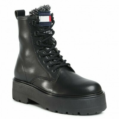 Tommy Jeans Fleece Flag Tongue Lace Up Boots