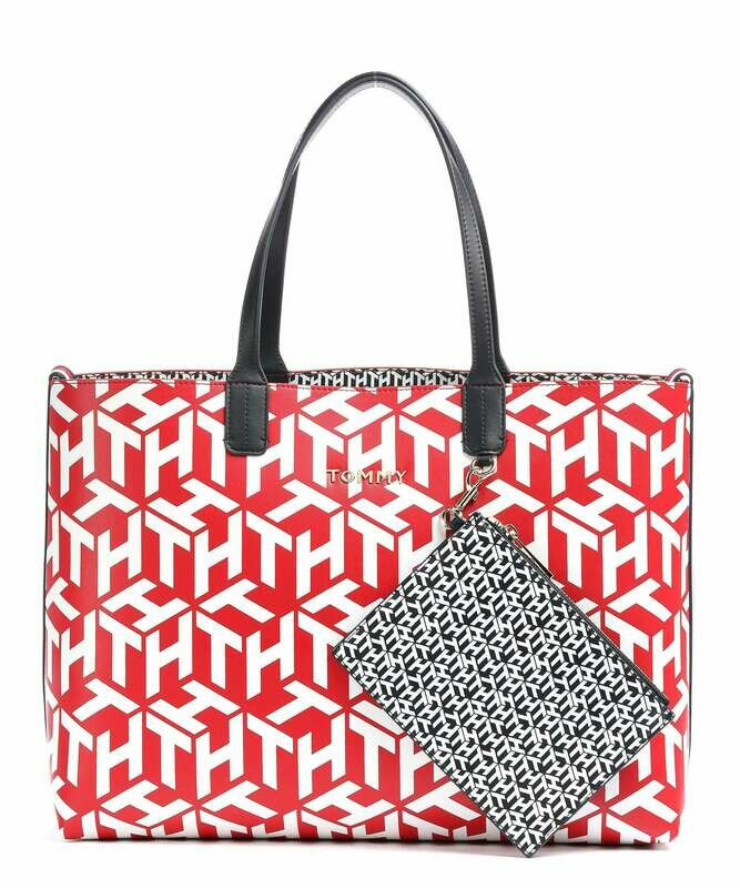 Tommy Hilfiger Iconic Monogram Print Contrast Lining Tote