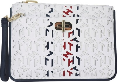 Tommy Hilfiger Turnlock Cut-Out Leather Clutch Bag