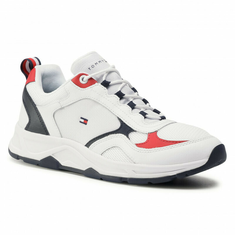 Tommy Hilfiger Colour-Blocked Mixed Texture Trainers