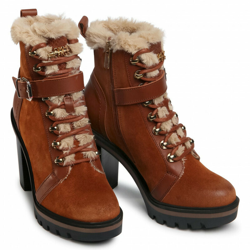 Tommy Hilfger Warm Lined High Heel Lace-Up Boots