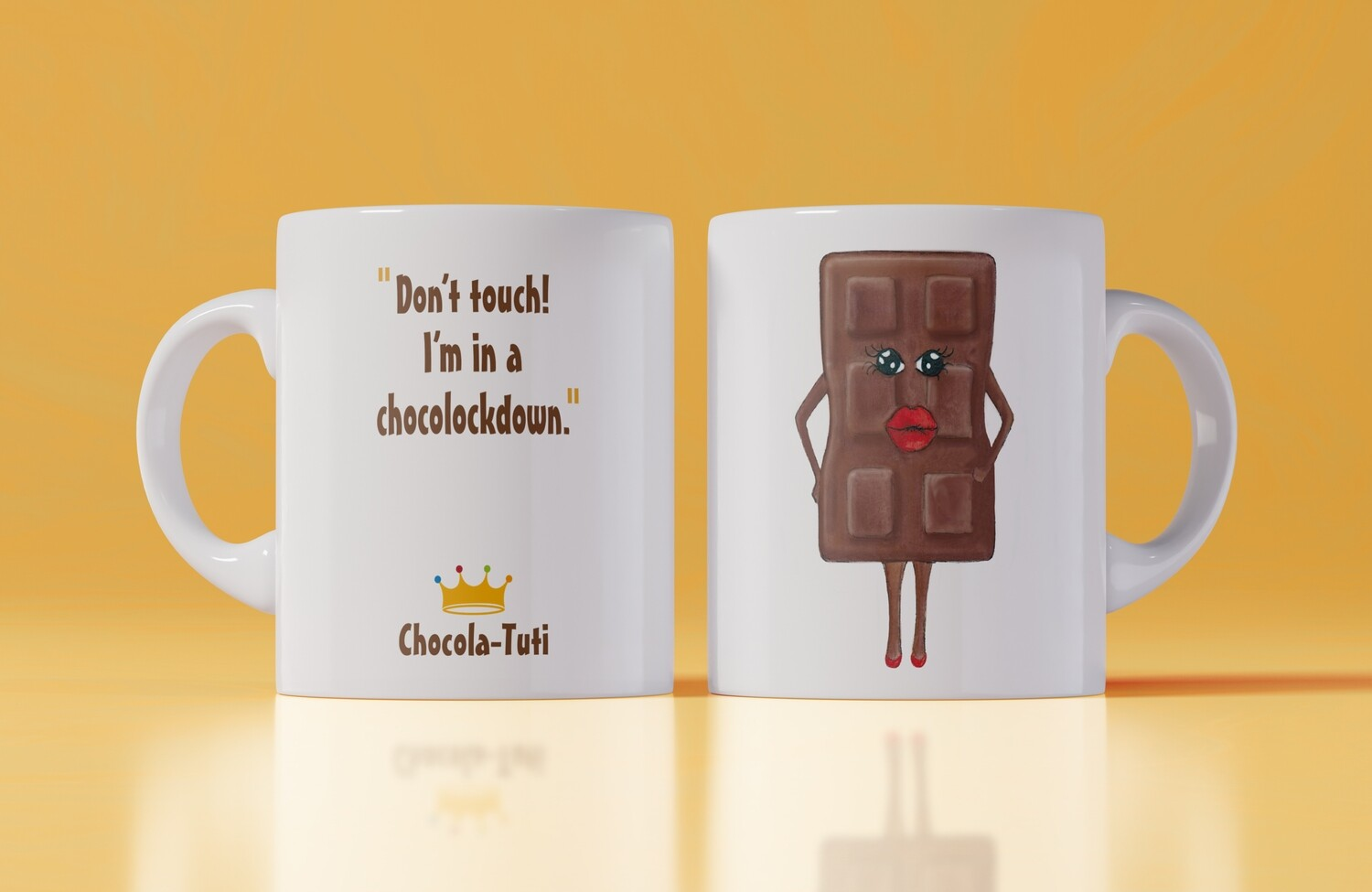 Koffiemok 'Don't touch!  I'm in a chocolockdown