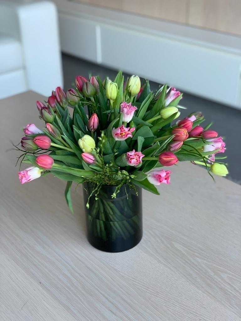 Boeket tulpen gemengde kleuren
