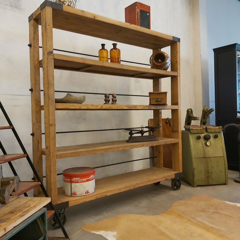 industrial rack on wagon wheels