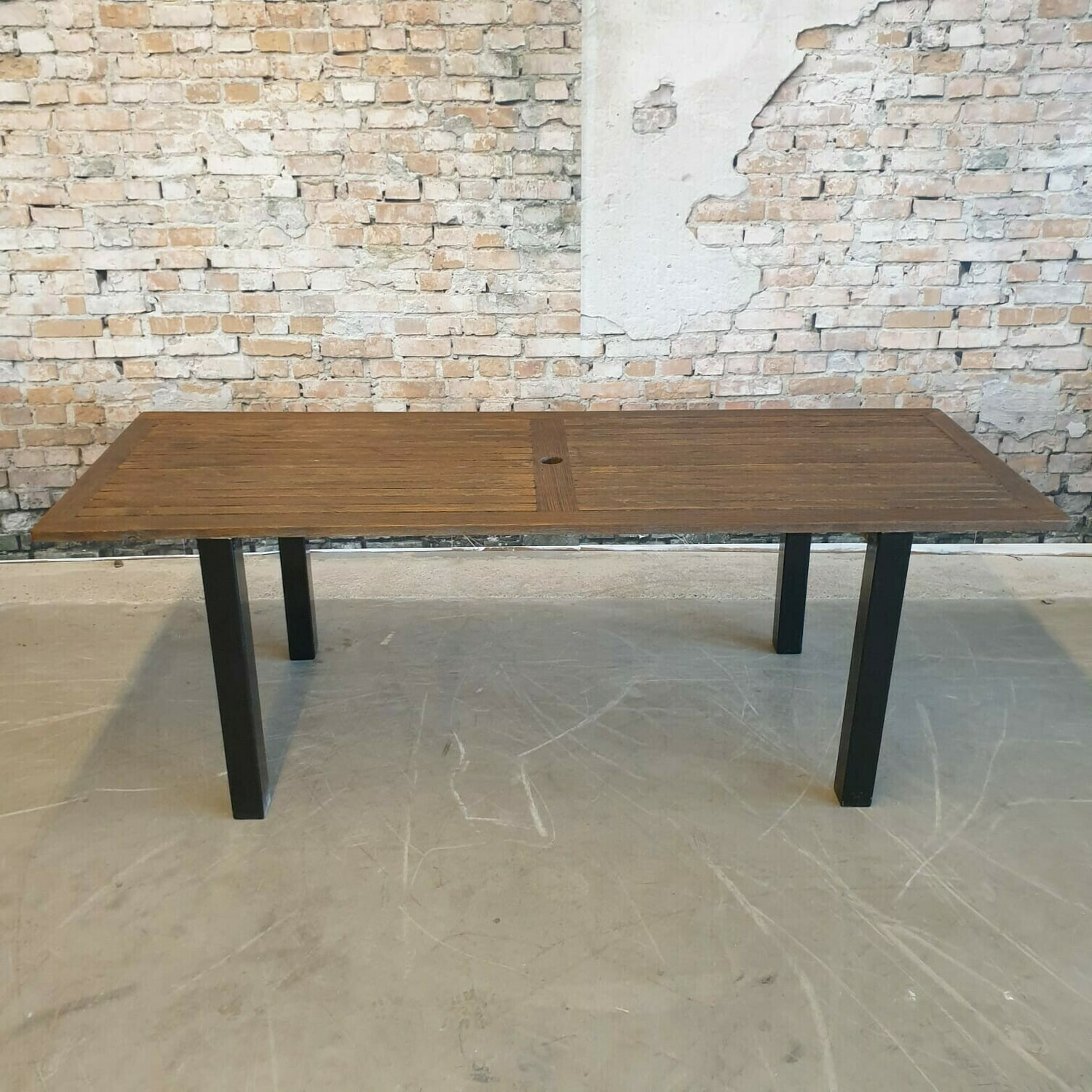outdoor table black steel