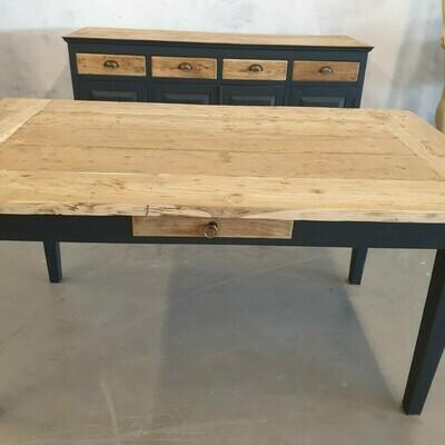Teakwood eettafel (1m60) Black & Wood