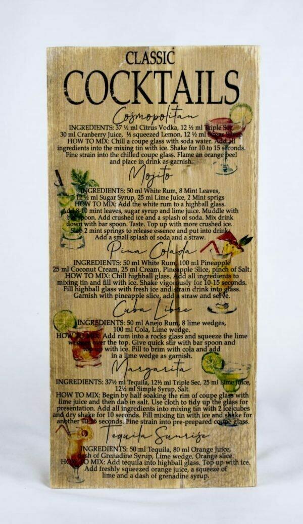 Decoratieplank Coctails