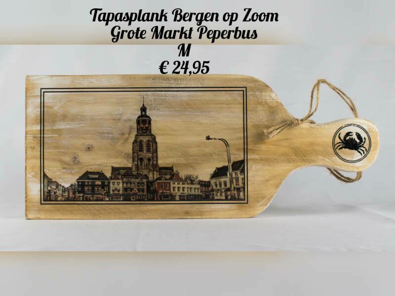 Tapasplank / Borrelplank BoZ - Grote markt & Peperbus Horizontaal.