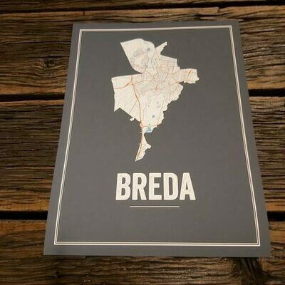 Breda Map Poster Antraciet ( 30 x 40 )