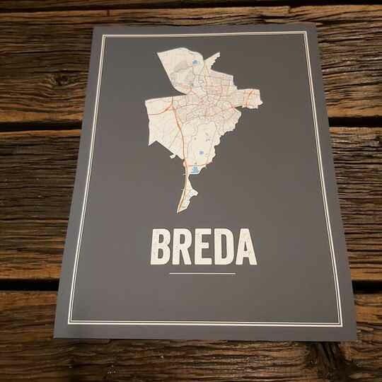 Breda Map Poster Antraciet ( 40 x 60 )
