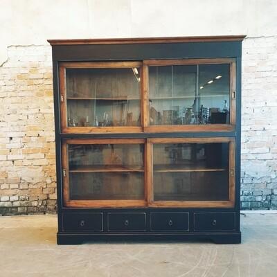 Handmade teak display cabinet Old Black