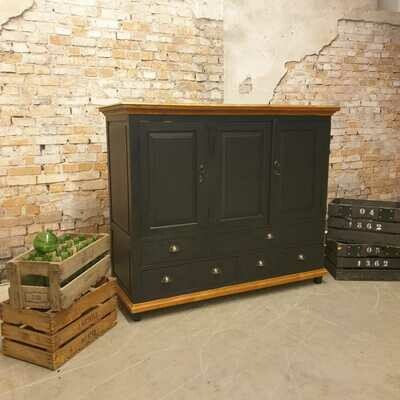 Teak storage cabinet black