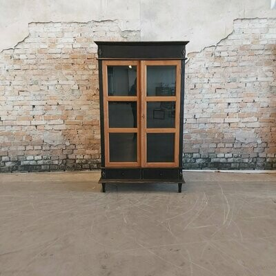 Teak display case black
