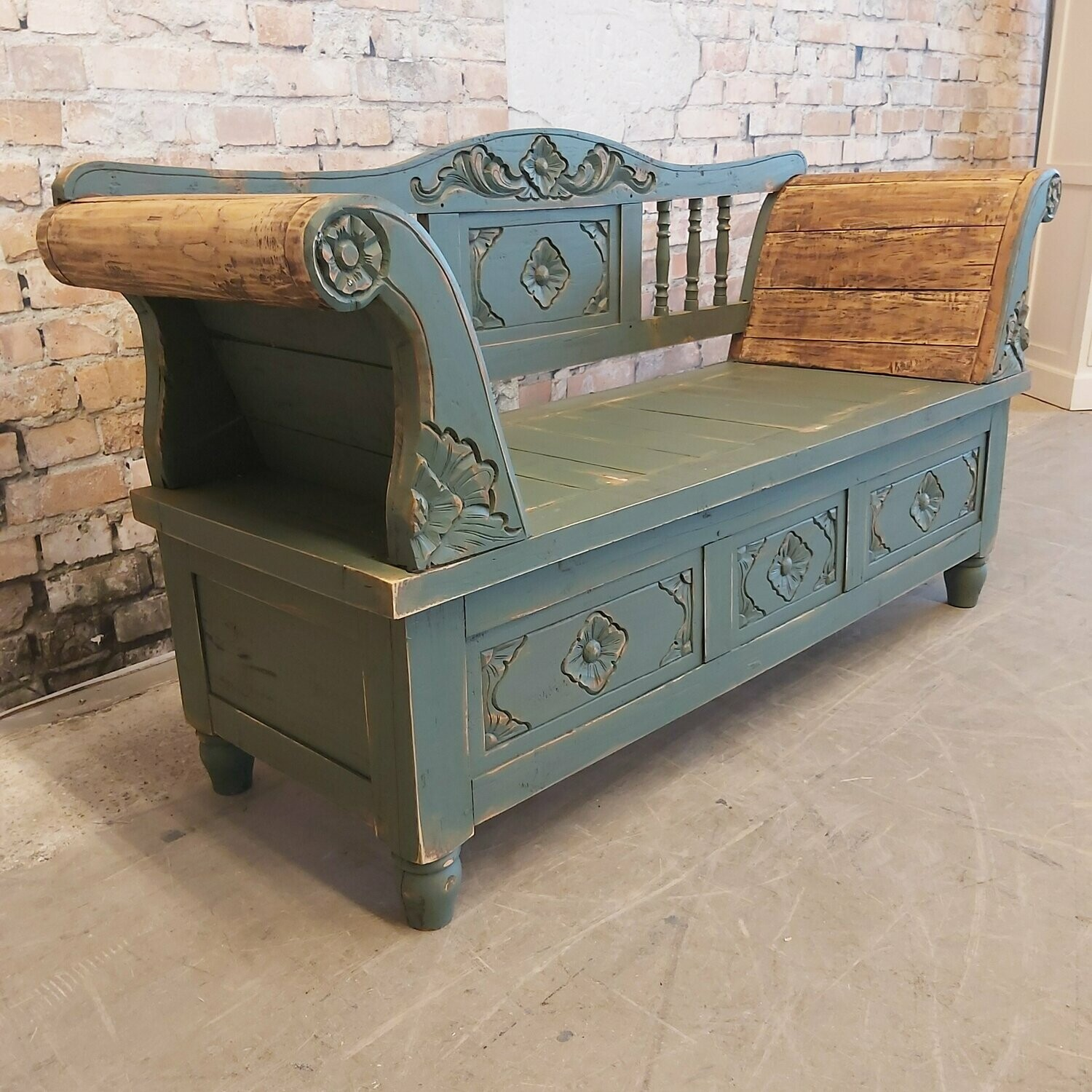 Antique French (hall) bench old green. ( 18th century)