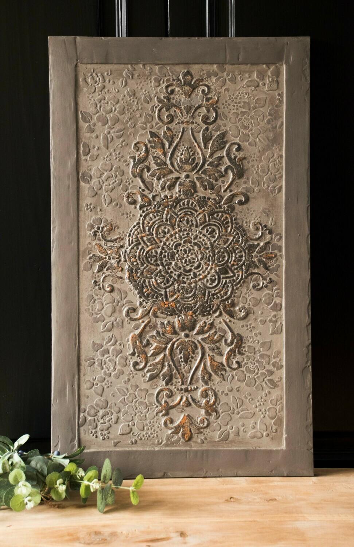 Wall panel damask taupe