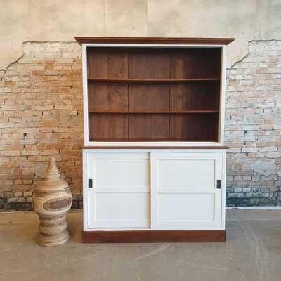Teakwood buffet- / boekenkast Wood & White