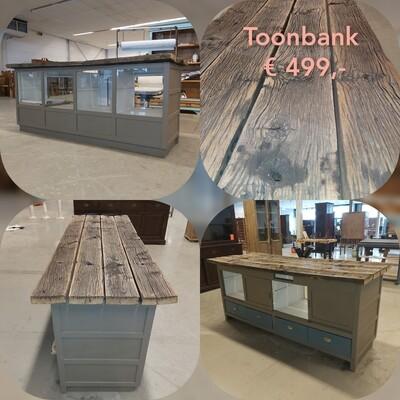 Toonbank Taupe met wagonhout ( zelf ophalen)
