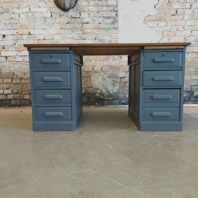 Vintage bureau Industrial blue