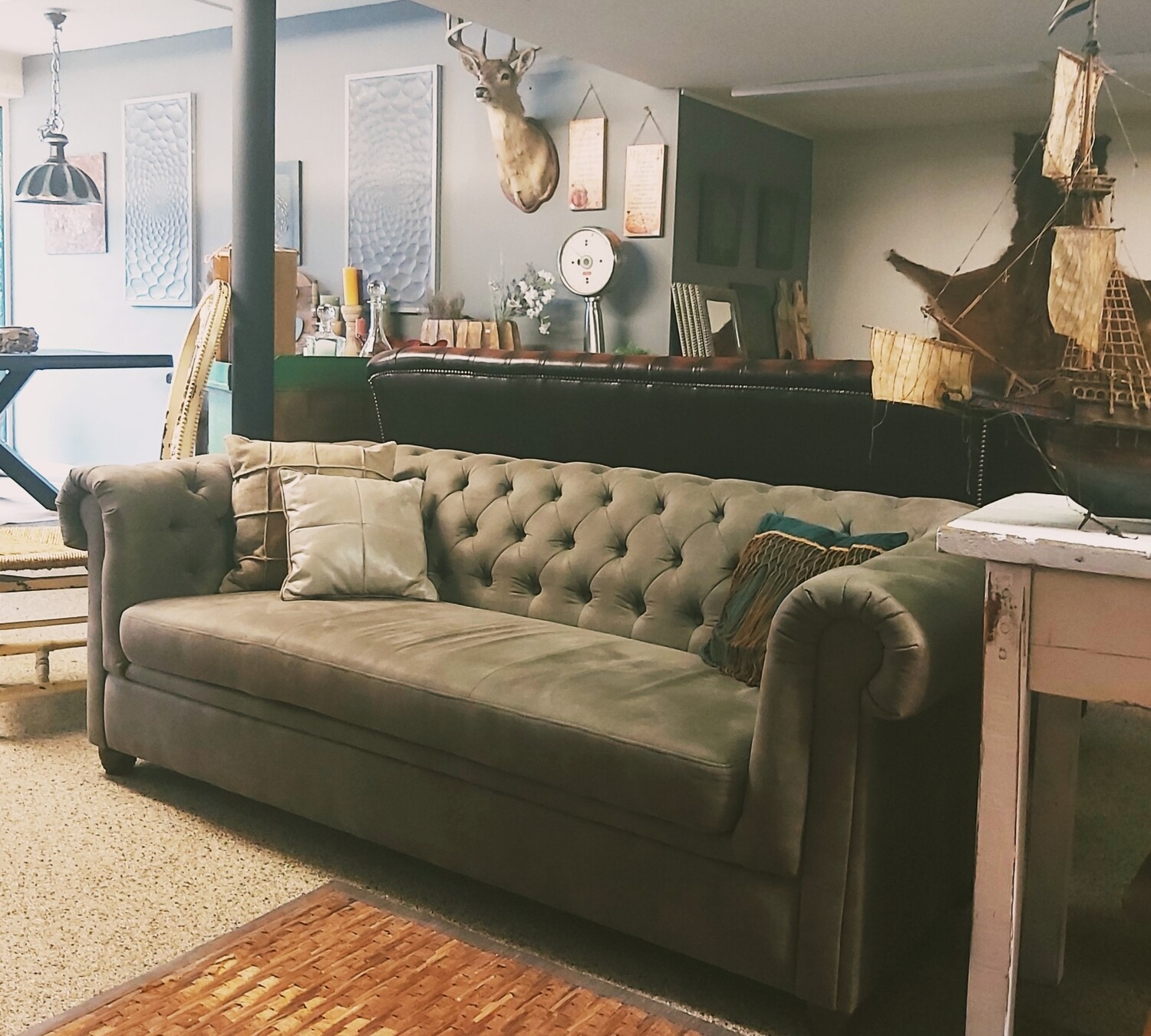 Taupe-colored, Suede-look sofa