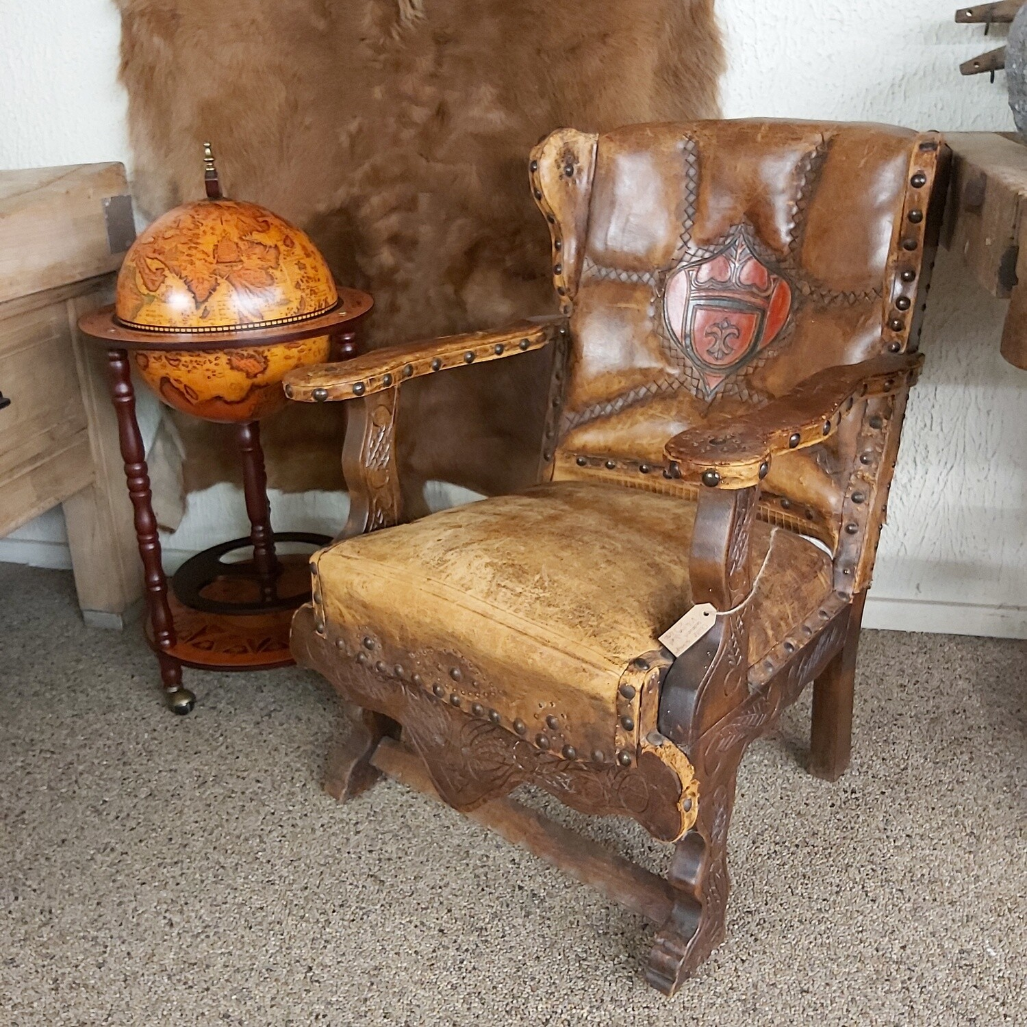 Old sheep leather Viking chair